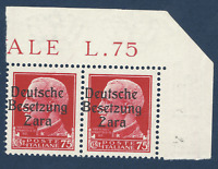 1943 GERMANY ZARA BESETZUNG ITALY 75C STAMPS PAIR MI #8, OVPT SHIFT ERROR MNH OG