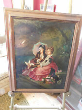 VICTORIAN OIL PAINTING BY ANTONI 1901  women in a garden