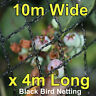 Commercial Knitted Anti Bird Netting 10 Metres Wide x  4 Metres Long - Black