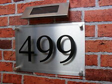 Acrylic House Sign with LED solar light - no wiring needed- house number signs