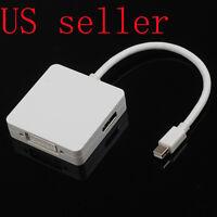 "3 in 1 Mini DisplayPort DP to DP DVI HDMI Cable Adapter For Macbook AIR 13"" 11"""