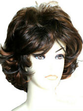 Lady Short Wig Curly 2 Tone Dark Brown Auburn Forever Young Fashion  Wigs