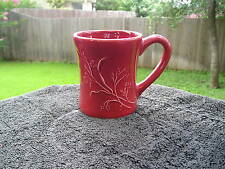 Woolrich Red Floral Embossed Flowers Stems Pure All Solid Red Mug