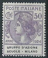 1924 REGNO PARASTATALI SCUOLE MILANO 50 CENT MNH ** - ED421