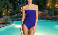 NWT GOTTEX Blue Beach Goddess SLIMMING Bandeau 1 pc BATHING SUIT SWIMSUIT sz- 16