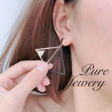 Cubic Zirconia CZ drop Earrings Round Clear Triangle woman stud drops