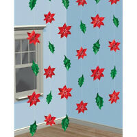 6 Festive Metallic Holly Christmas 7ft String Party Decorations