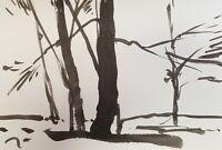 "JOSE TRUJILLO MODERNIST ABSTRACT EXPRESSIONIST INK WASH TREE TRUNKS 6X9"" ART"