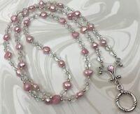Pink Freshwater Pearl Lanyard, Pink Pearl Badge ID Holder, Breakaway Opt.