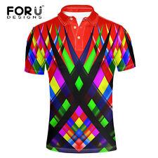 Mens Polo Shirt Short Sleeve Fashion Classic Fit Striped Golf Tennis Top T-Shirt