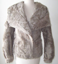 COSTUME NATIONAL Taupe Wavy Lamb Fur Hoodie Jacket Coat  42  6