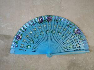 Spain Flamenco Handfächer Pocket Fan Folding Fan Wooden E H Blue