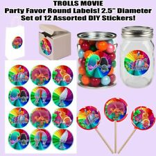 """Trolls Movie Stickers 2.5"""" Round Party Favors Decorations Gift Bags Boxes-12"""