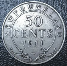 OLD CANADIAN COIN 1911 NEWFOUNDLAND 50 CENTS - .925 SILVER - George V - Nice