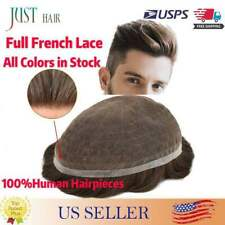 Full French Lace Hair Replacement System For Man Swiss Lace Men Toupee Hairpiece