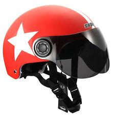 RED MOTORCYCLE SCOOTER BICYCLE HELMET HALF OPEN FACE VISOR SHIELD ADJUSTABLE