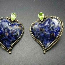 Gorgeous SOUTHWESTERN Sterling Silver BLUE SODALITE Green Peridot HEART EARRINGS
