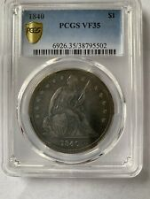 1840 Seated Dollar PCGS VF35, First Year, Gold Shield, Gorgeous Blue Toning,