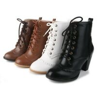 Womens Retro Ankle Boots Shoe Chunky High Heel Lace Up Round Toe Strappy Booties