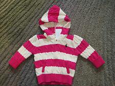 Ralph Lauren Baby Girls Pink / White Hooded Cotton Sweater - Size 6 Months - NWT