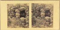 Grotte Luogo A Identificare c1880 Foto Stereo Amateur Vintage Albumina