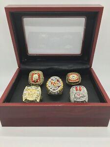 5 Pcs Kansas City Chiefs Super Bowl Championship Ring Set with Display Box