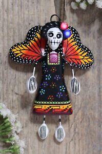 Fairy Skeleton Monarch Butterfly Wings Day of the Dead Handmade Mexican Folk Art