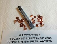 """Solid COPPER or BRASS Rivets /& Burrs Sizes #9/_#12/_#14 Length 1//2/""""/_3//4/""""/_1/""""/_1.5/"""""""