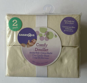Babies R Us TWO PACK Jersey Knit Soft Cradle Sheets Set NEW Cream Ivory Cotton