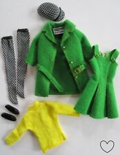1963 SKIPPER Doll Outfit #1922 TOWN TOGS Green Dress Jacket Shoes Hat MINT