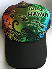 9a308fe63d02c Hawaiian Trucker Polyester Hat Mesh Back Adjustable Cap Hawaii Rasta  Rainbow NIP