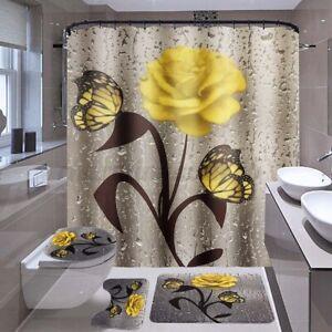 Bathroom Set Rose Waterproof Fabric Shower Curtain Toilet Lid Cover Mat