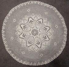 "Large Shimmering Off White Hand Crochet Crocheted Round Doilys 36"""