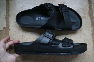 Black Synthetic Double Strap Open Toe BIRKENSTOCK Sandals Slides US 10 Man