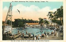 Florida, Fl, Tampa, Sulphur Springs, Main Swimming Pool 1920's Postcard