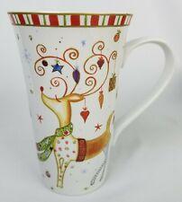 222 Fifth CHRISTMAS Play Latte Mug REINDEER Holiday Tall 16 oz Coffee Cup Gift