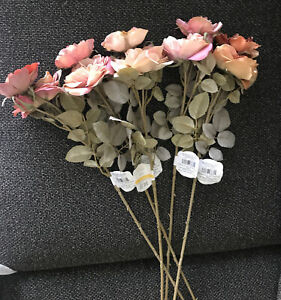 """5 x Dry Wild Rose Stem Artificial Flowers Roses Wedding Party 25"""""""