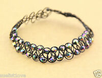 new Rainbow Beads Tattoo Choker Elastic Necklace Pendant Grunge 90s Festival