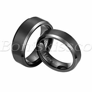 "Men's Women ""I Love You"" Tungsten Ring Couple Valentine Engagement Wedding Band"