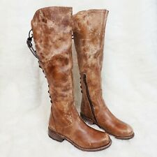 Bed Stu Surrey Tall Riding Boots Caramel Lux Lace Up Back