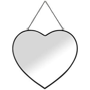 Framed Black Heart Mirror Cute Design With Simple Black Finish & Chain 40x43.5cm
