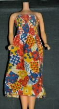 Vintage 1975 BARBIE Doll # 7414 Best Buy RED BLUE HALTER PATCHWORK DRESS Outfit