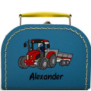 Kinderkoffer petrolblau mit Trecker Traktor und Wunschnamen