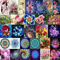 DIY Mosaic Cross Stitch Kit Flower Painting Embroidery 5D Full Drill Diamond