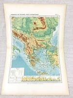1888 Antik Landkarte Der Balkan Halbinsel Physikalisch Hypsometric Französisch