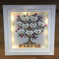 Unique LED LIGHT Box Frame Family tree Gift Scrabble Christmas