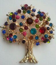 BN Gold metal finish, multi Fall Cherry Bloom Austrian crystal  Oak Tree Brooch