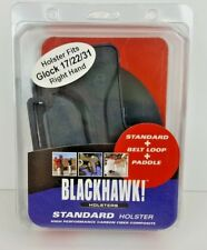 BLACKHAWK! Standard Holster Fits Glock 17/22/31 Right Hand w/ Belt Loop & Paddle