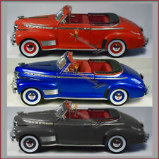 THREE Welly 1941 Chevy Special Deluxe 1:24 scale diecast cars RED, BLUE, BLACK