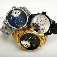 Men's Joshua & Sons JX154 Multifunction Dual Time Stainless Steel Mesh Watch